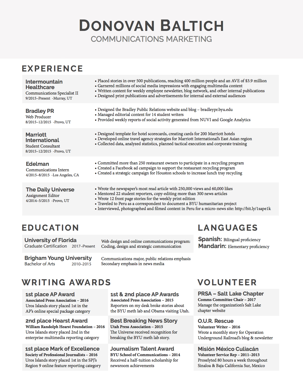 rsum donovan baltich - Web Producer Resume